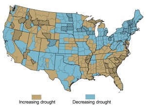 Observed drought trends in the United States, with hatching indicating a significant trend. Source: USGCRP (2009).