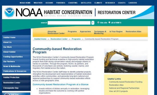 screenshot of NOAA's Community-based Restoration Program  webpage.