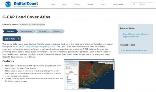 screenshot from NOAA Digital Coast's Land Cover Atlas webpage.
