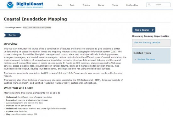 screenshot of NOAA Digital Coast's Coastal Inundation Mapper webpage.