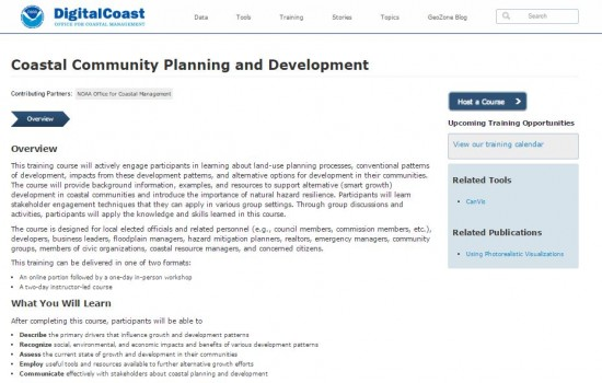 screenshot of NOAA Digital Coast's Coastal Community Planning and Development webpage.