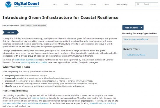 screenshot of NOAA Digital Coast's Green Infrastructure for Coastal Resilience training webpage.