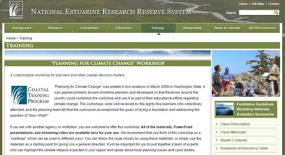 screenshot of NOAA NEERS Training webpage.