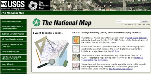 screenshot of the USGS National Map website.