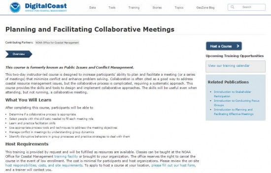 screenshot from NOAA Digital Coast's Planning and Facilitating Collaborative Meetings webpage.