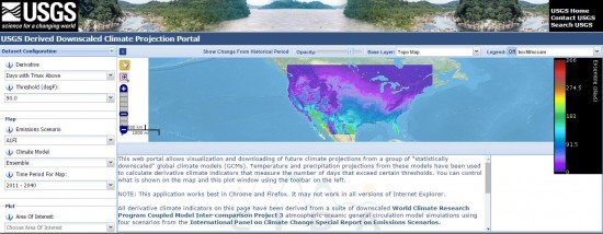 Screenshot of USGS Derived Downscaled Climate Projection Portal.