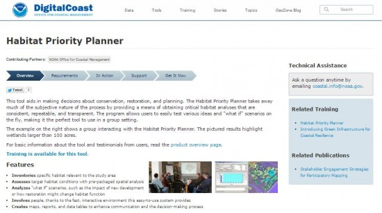 screenshot of NOAA Digital Coast's HPP webpage.