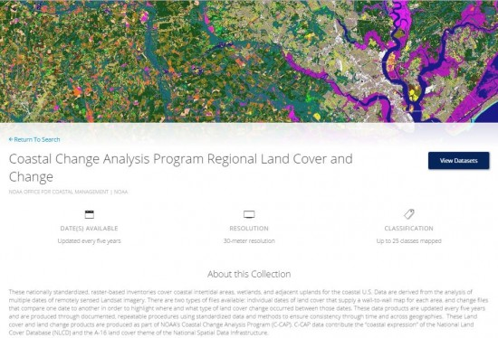 screenshot of NOAA Digital Coast's Regional Land Cover collection.