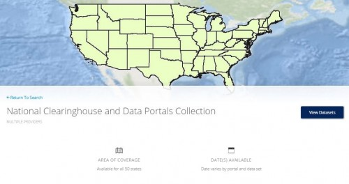 screenshot of NOAA's National Clearinghouse and Data Portals Collection.