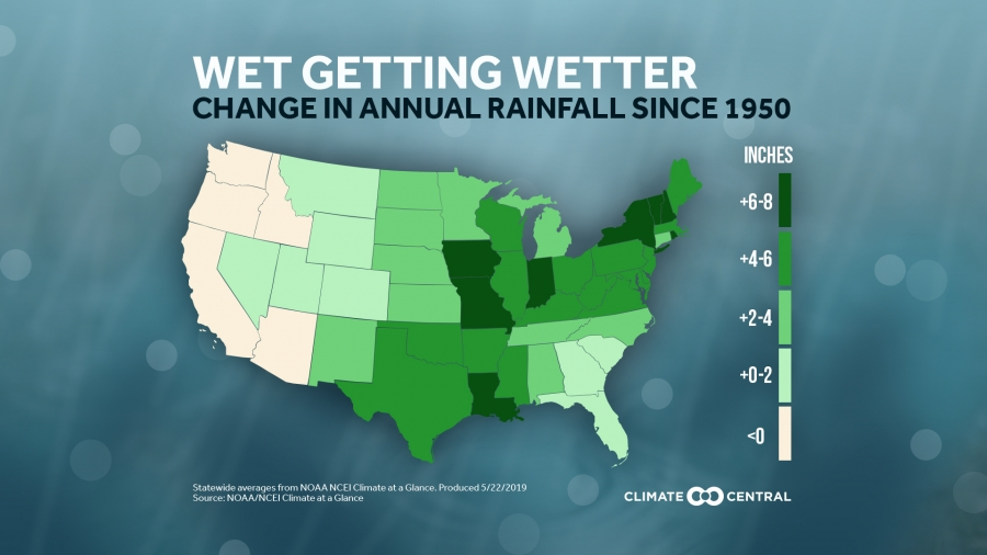 Us Rainfall Map 2019 Annual Rainfall Increasing in Most U.S. States   Conservation in a
